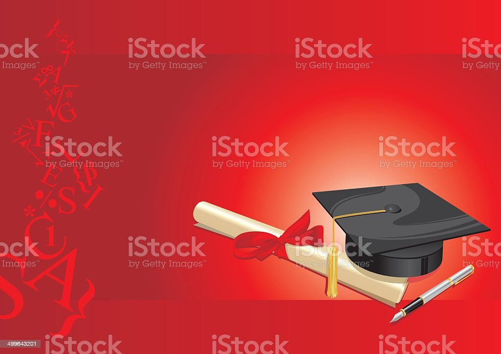university degree college  greeting card red.cdr vector art illustration