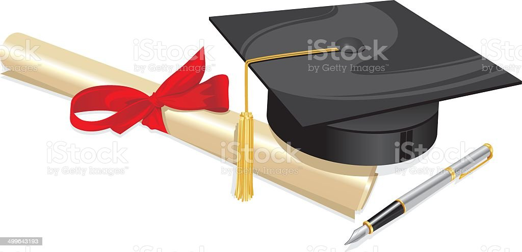 university degree college greeting card vector art illustration
