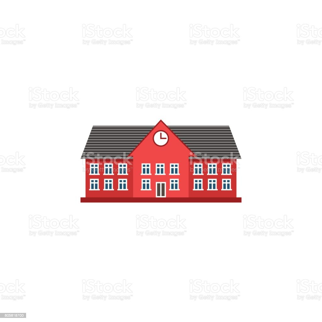 University flat icon, school and building vector art illustration