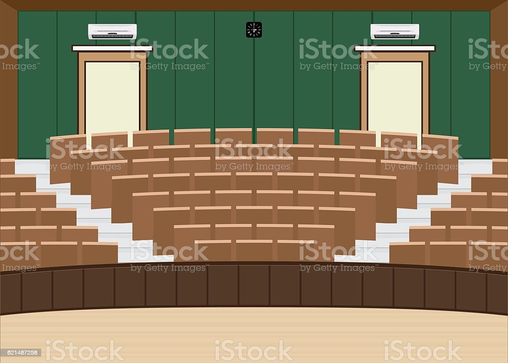 University lecture main hall with a Large Seating Capacity vector art illustration