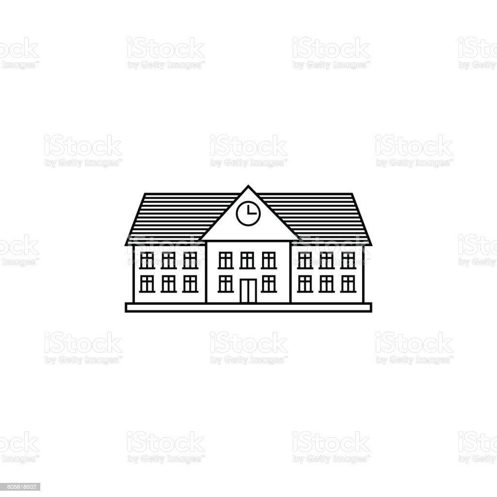 University line icon, school and building vector art illustration