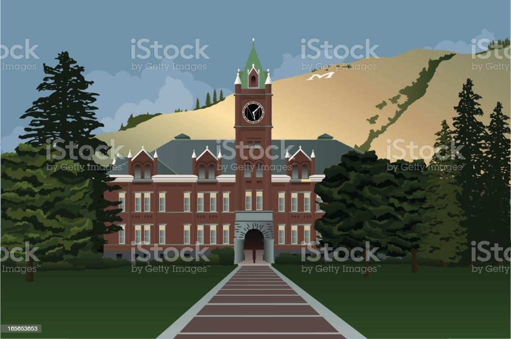University of Montana Main Hall with Hill in Background royalty-free stock vector art