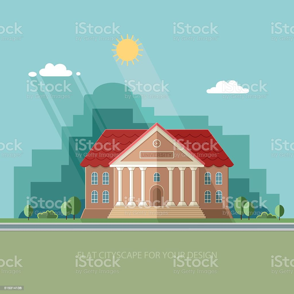University on the city background. College School. Flat vector illustration. vector art illustration