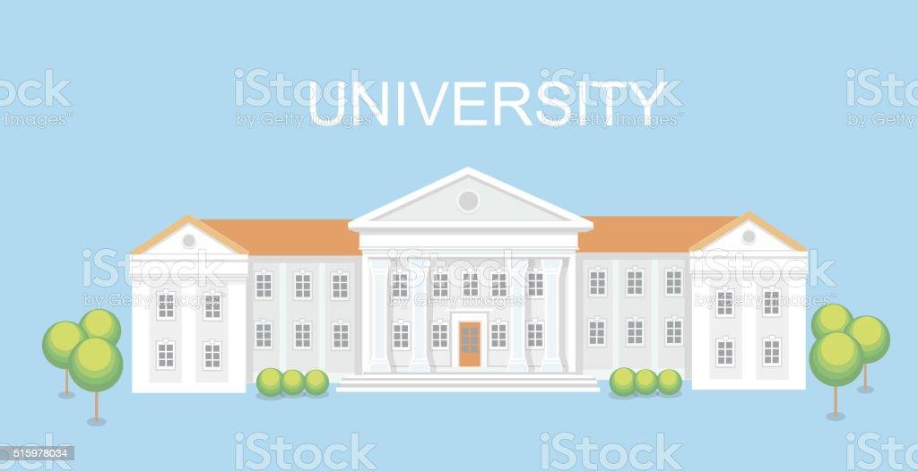 University or college building. Campus design, graduation university, vector vector art illustration