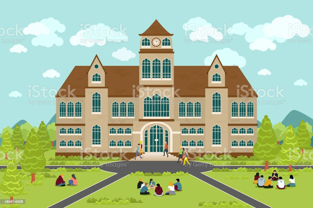 University or college building vector art illustration