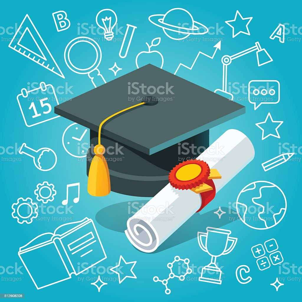 University student cap mortar board and diploma vector art illustration