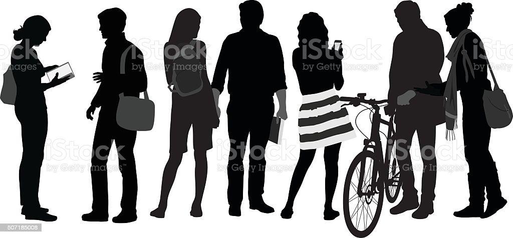 University Students Silhouette Crowd vector art illustration