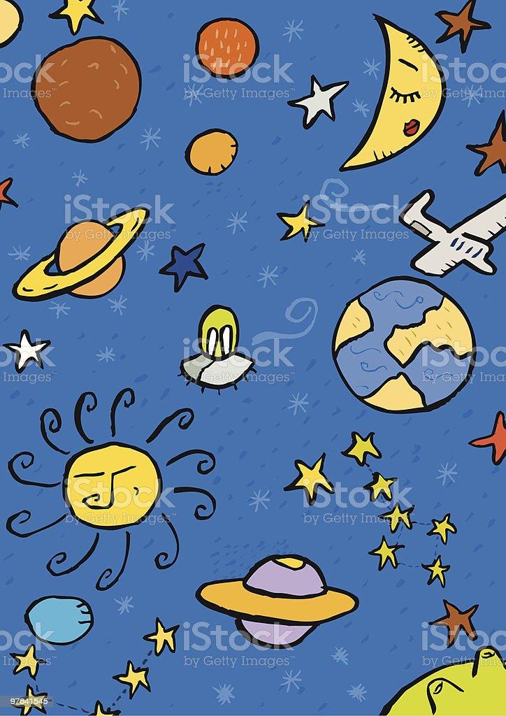 Universo. Sol, luna, planetas, estrellas vector art illustration