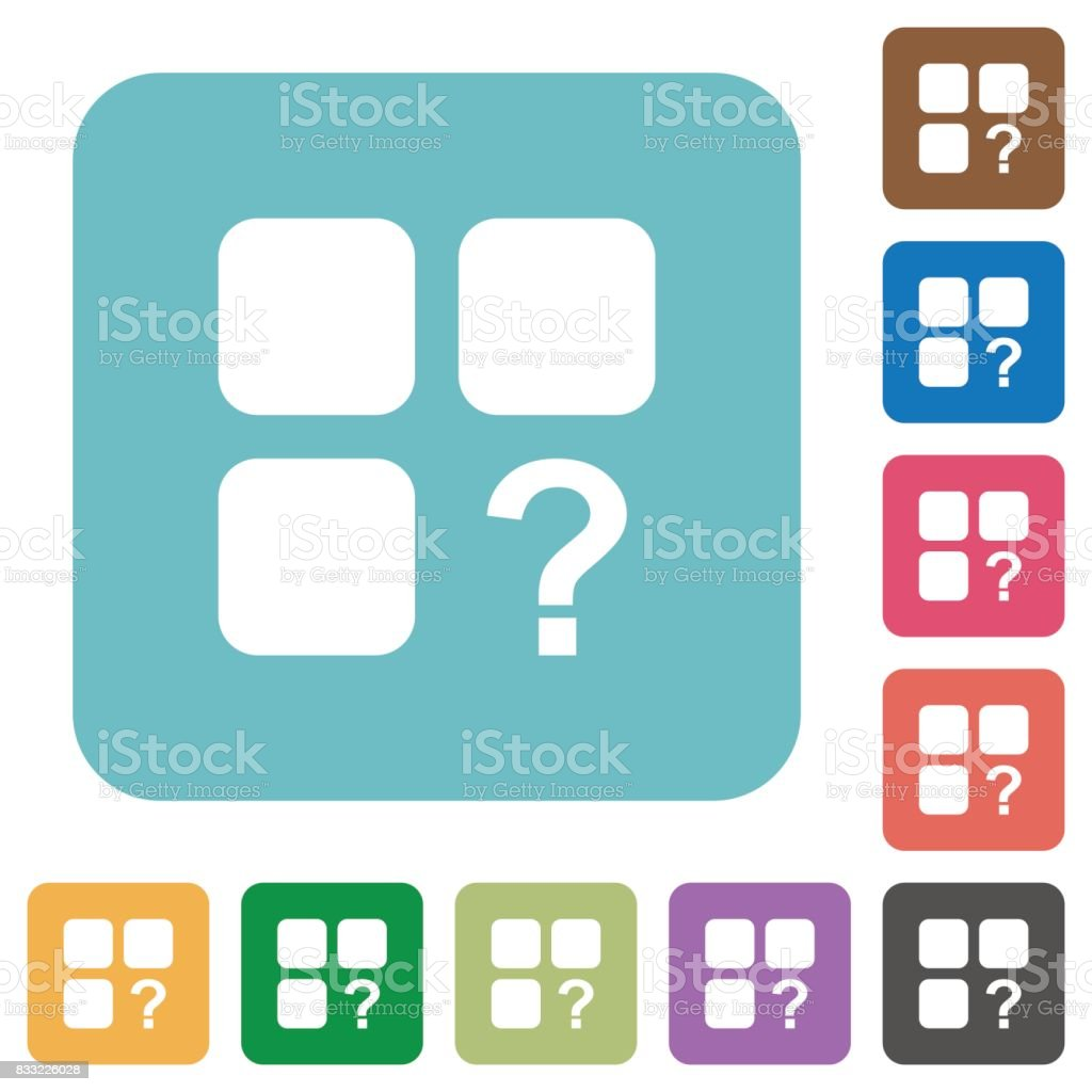 Unknown component rounded square flat icons vector art illustration