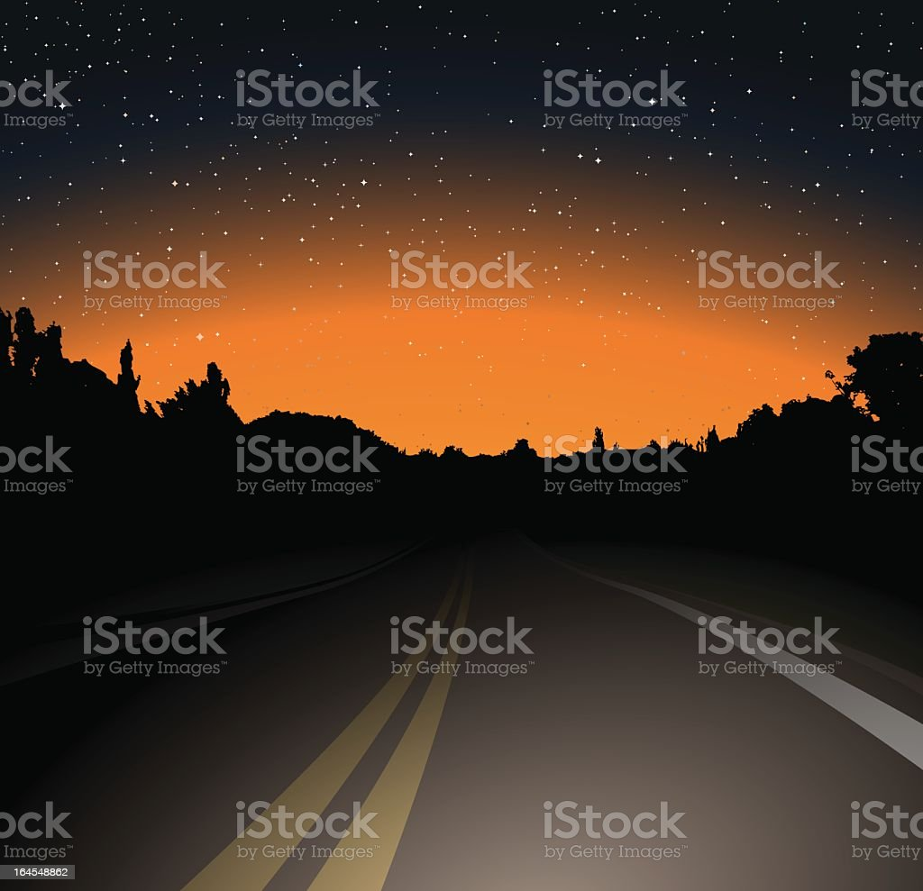 A unlit road on a dark night with building silhouette royalty-free stock vector art