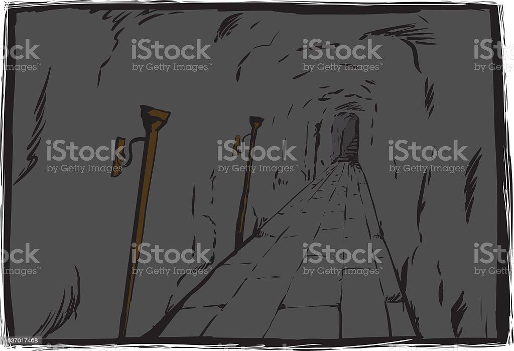 Unlit torches in unlit dungeon vector art illustration