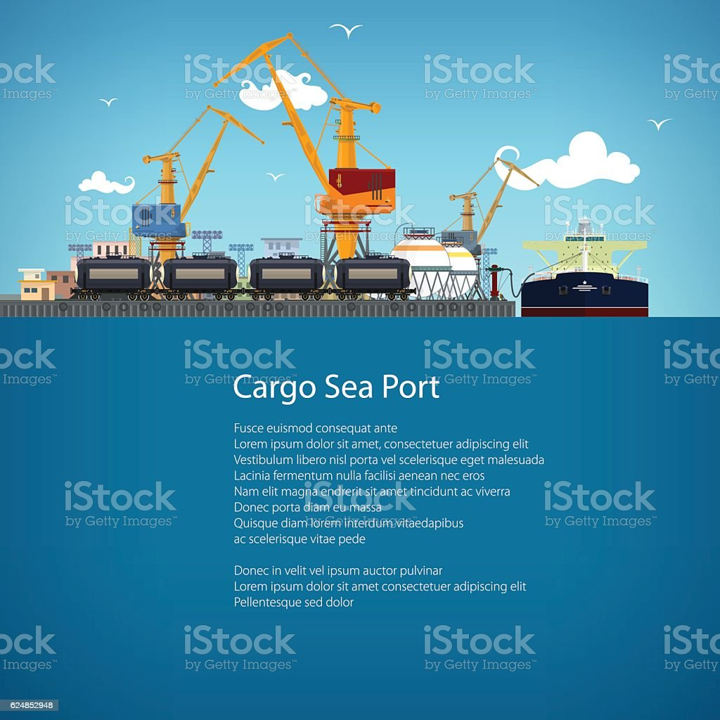 Unloading Oil from the Tanker and Text vector art illustration