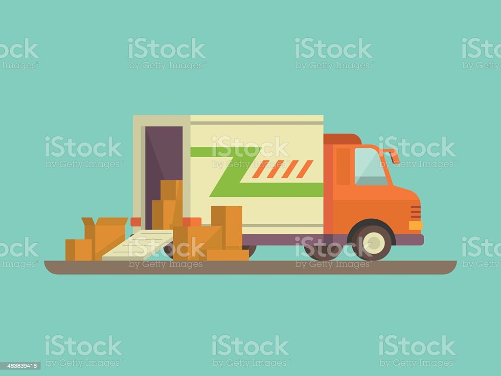 Unloading or loading delivery truck vector art illustration