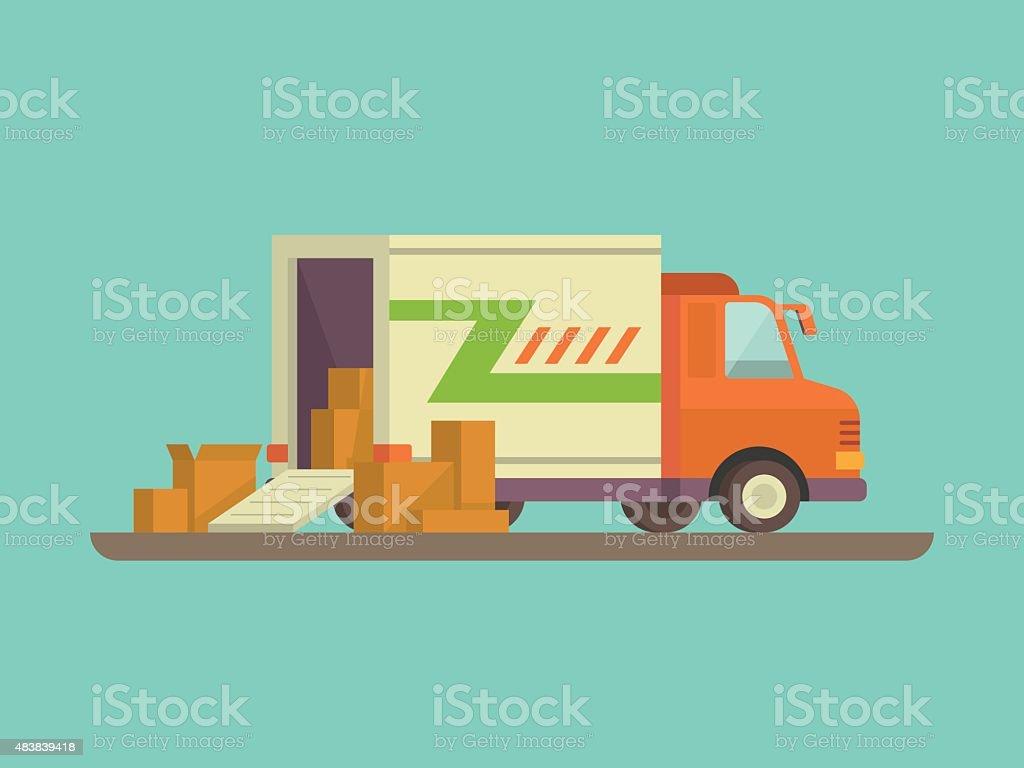 Unloading or loading delivery truck vector art illustration
