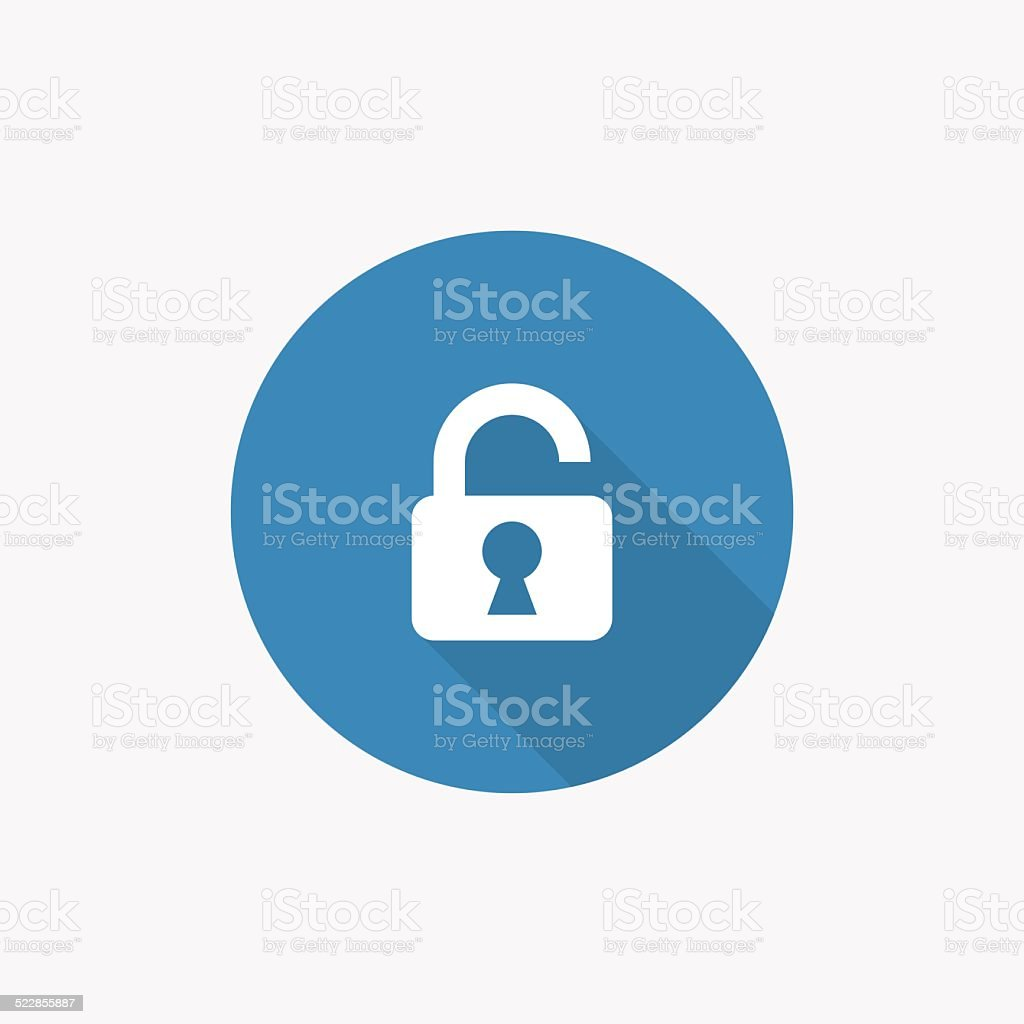 unlock Flat Blue Simple Icon with long shadow vector art illustration