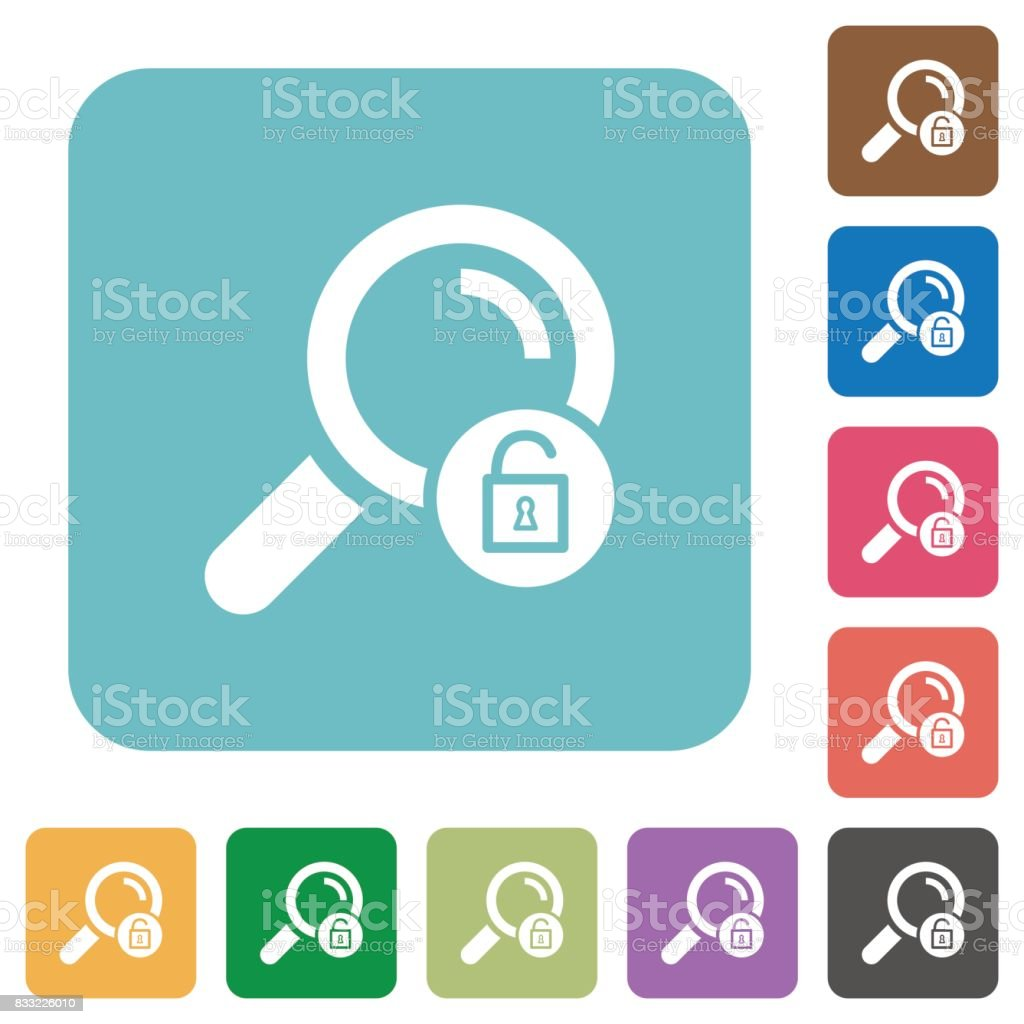 Unlock search rounded square flat icons vector art illustration