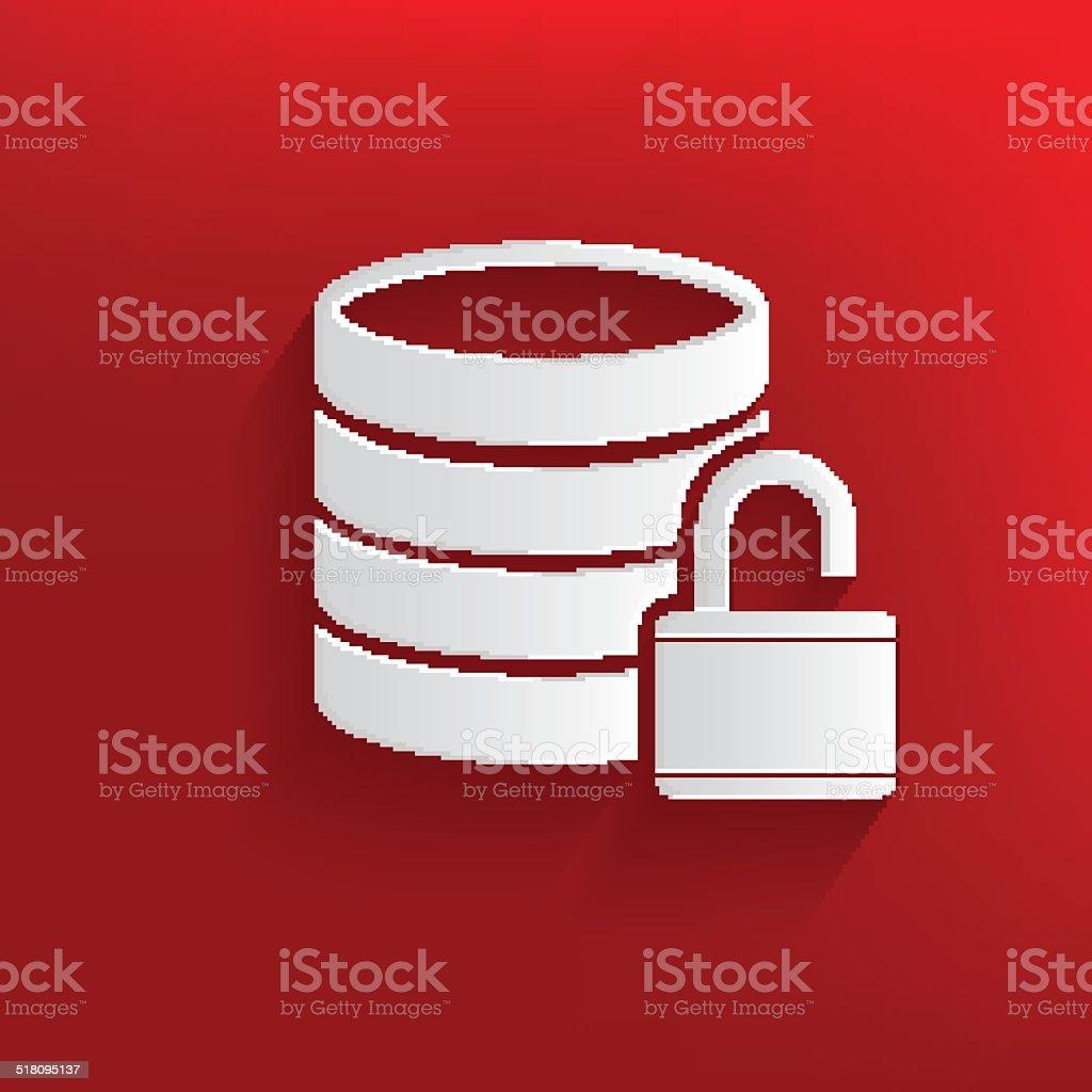 Unlock,Database symbol on red background,clean vector vector art illustration