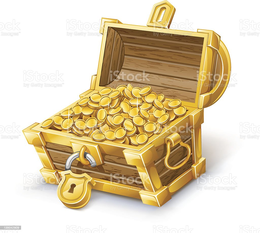 Unlocked brown treasure chest full of gold coins vector art illustration