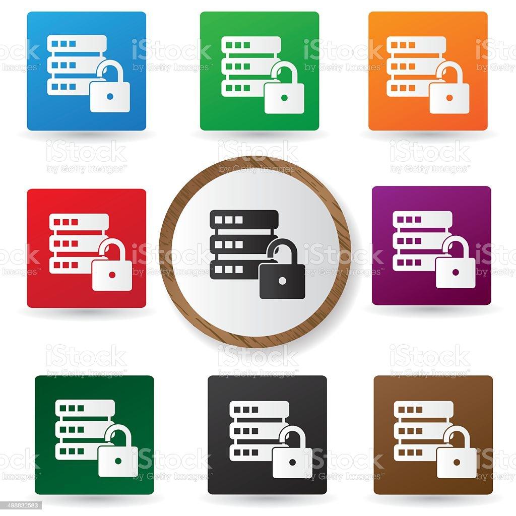 Unlocked Database buttons,vector vector art illustration