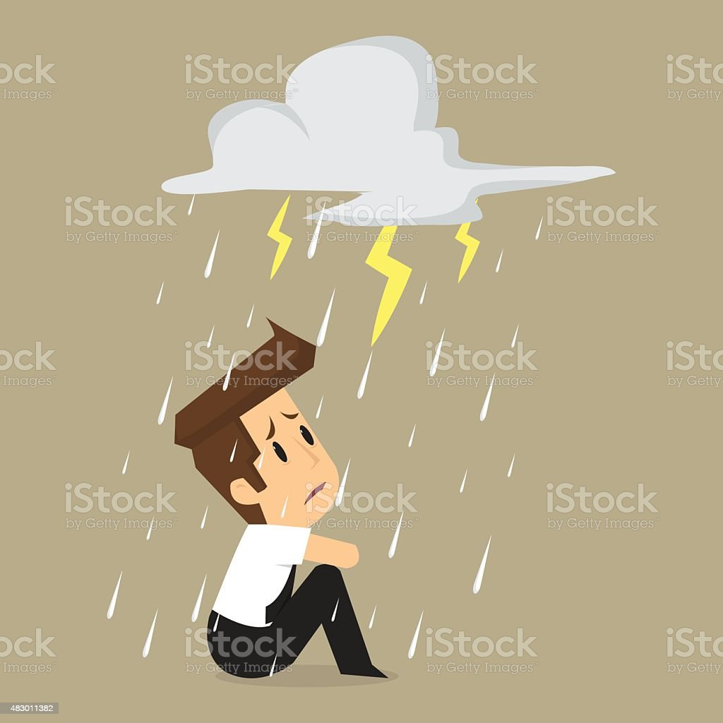 Unlucky businessman being wet from rain vector art illustration