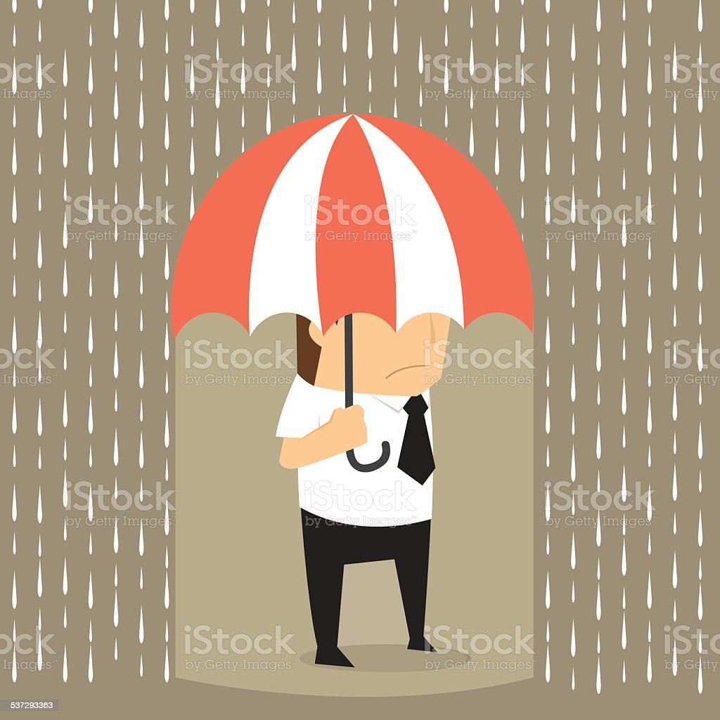 Unlucky businessman being wet from raining instead he holding um vector art illustration