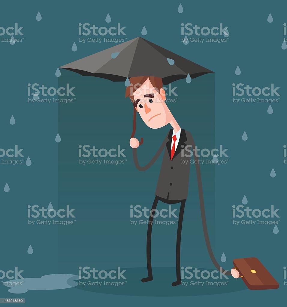 Unlucky Businessman vector art illustration