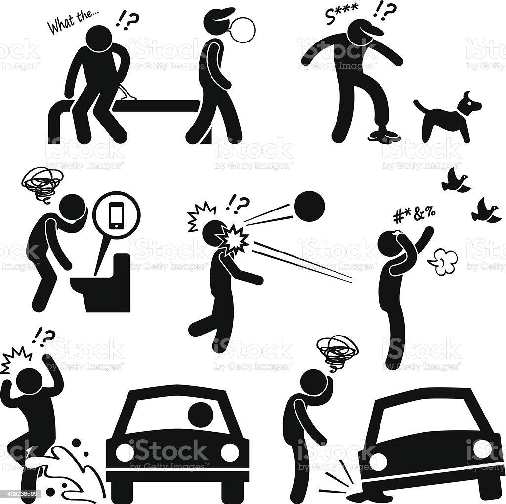 Unlucky Man Bad Luck People Karma vector art illustration