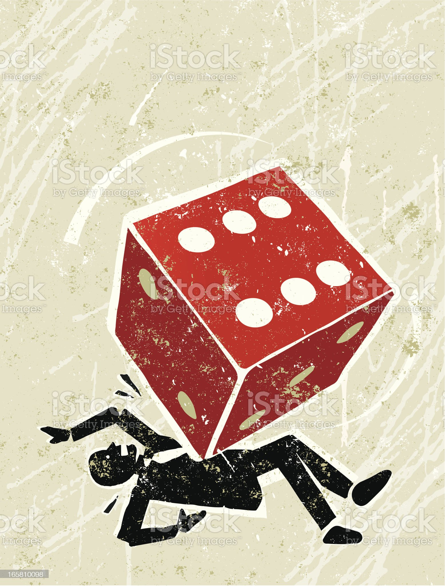 Unlucky Man Crushed by Dice royalty-free stock vector art
