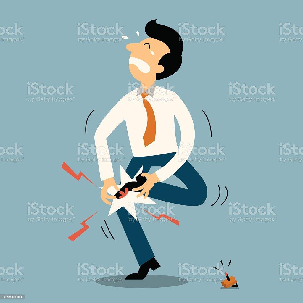 Unlucky man vector art illustration