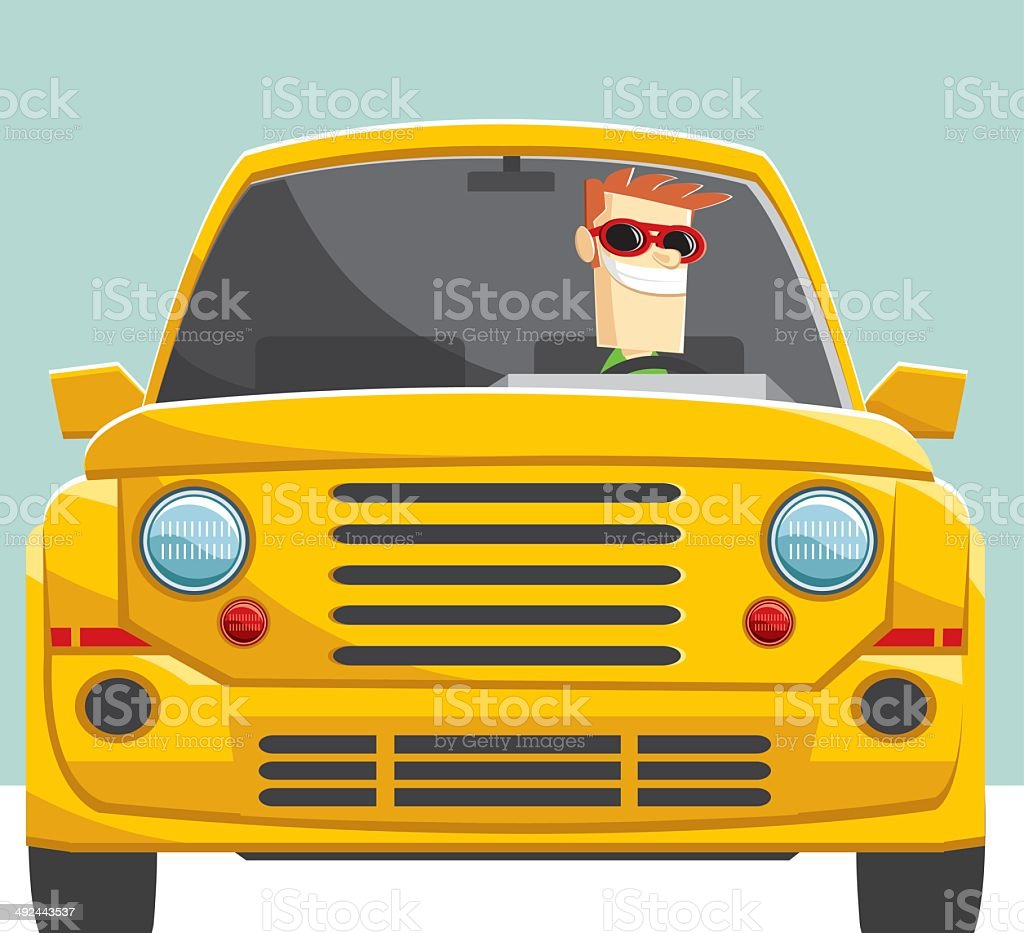 unmarked 4x4 and driver vector art illustration