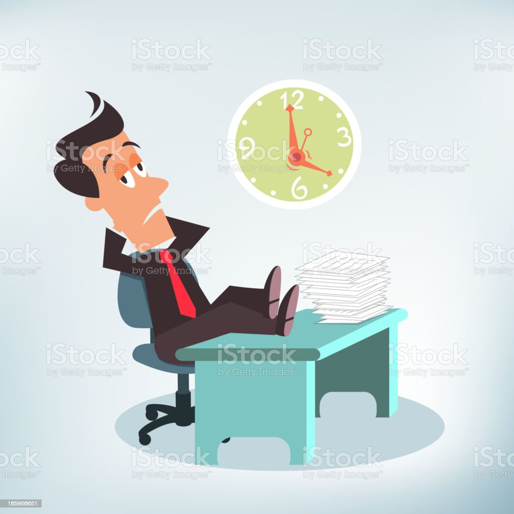 Unmotivated Employee vector art illustration