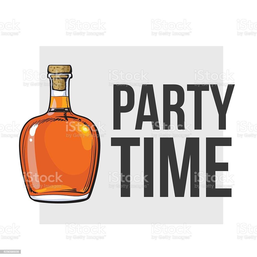 Unopened, unlabeled full whiskey bottle vector art illustration