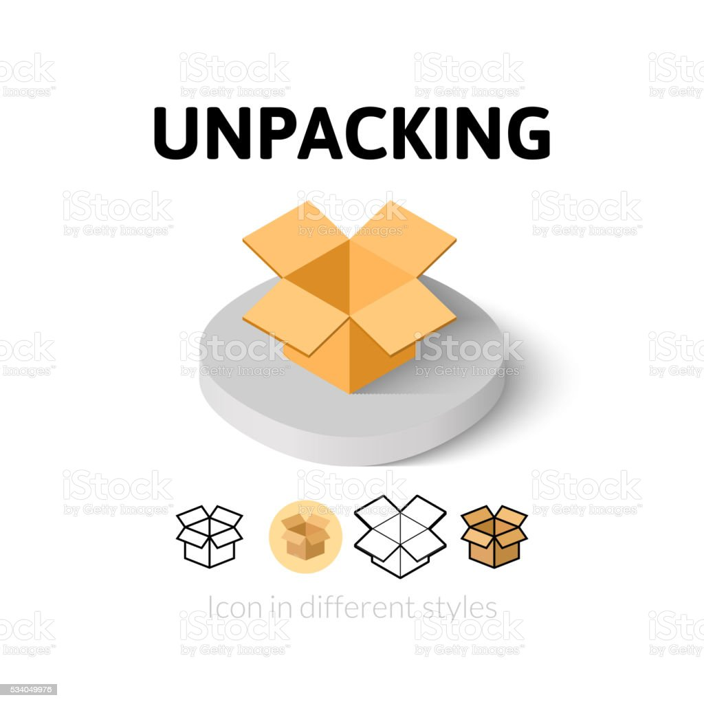 Unpacking icon in different style vector art illustration