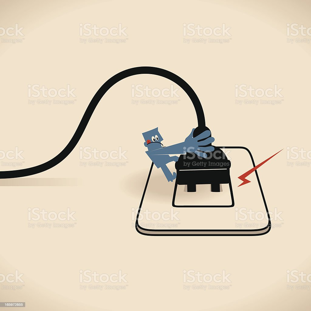 Unplug the power cable from outlet royalty-free stock vector art