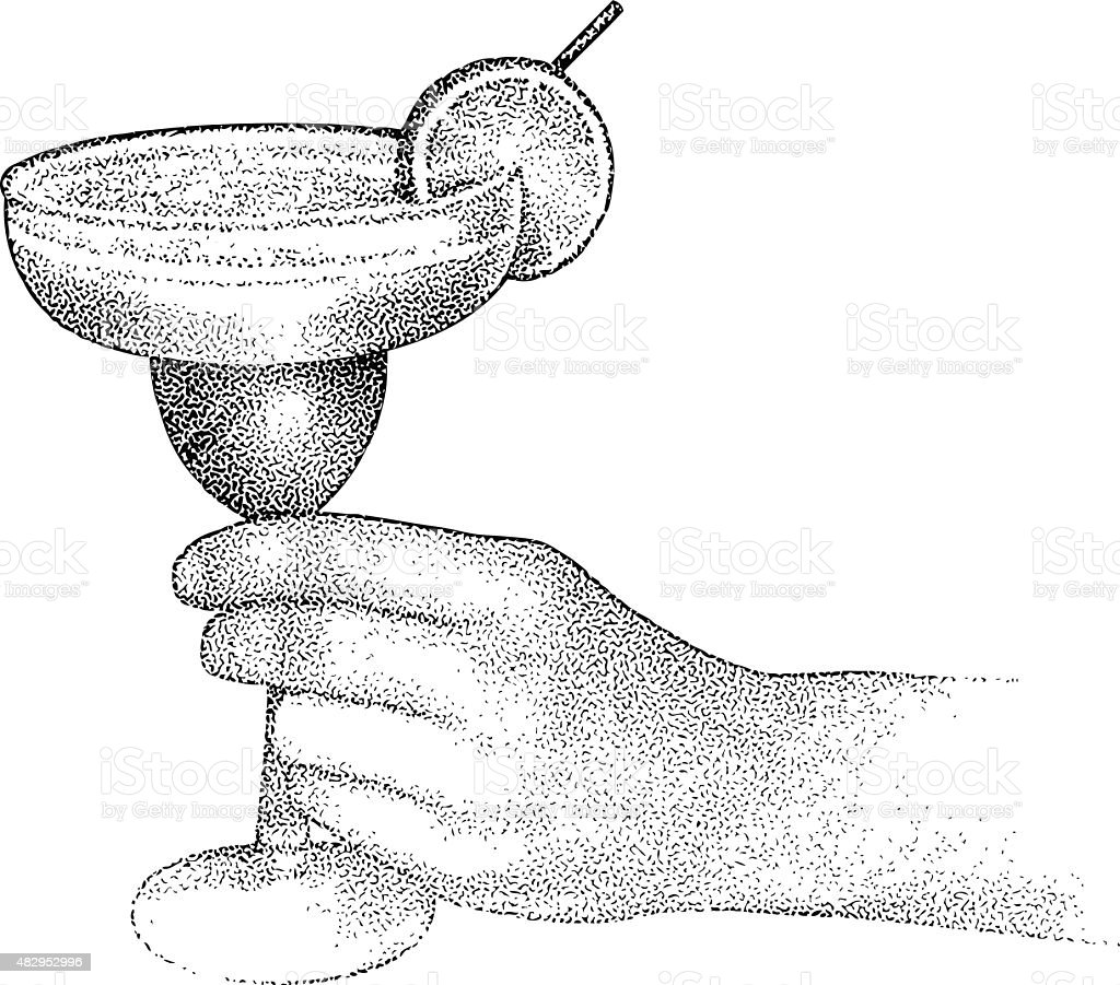 Unrecognizable Person Enjoying A Chilled Margarita vector art illustration