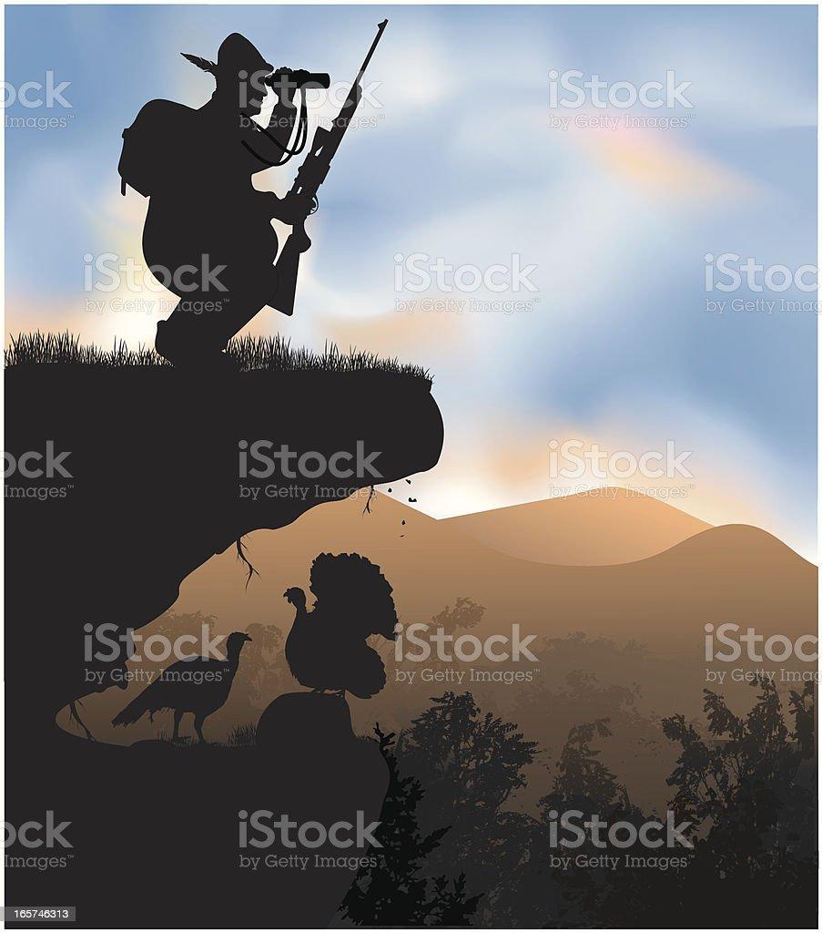 Unsuccessful hunter vector art illustration