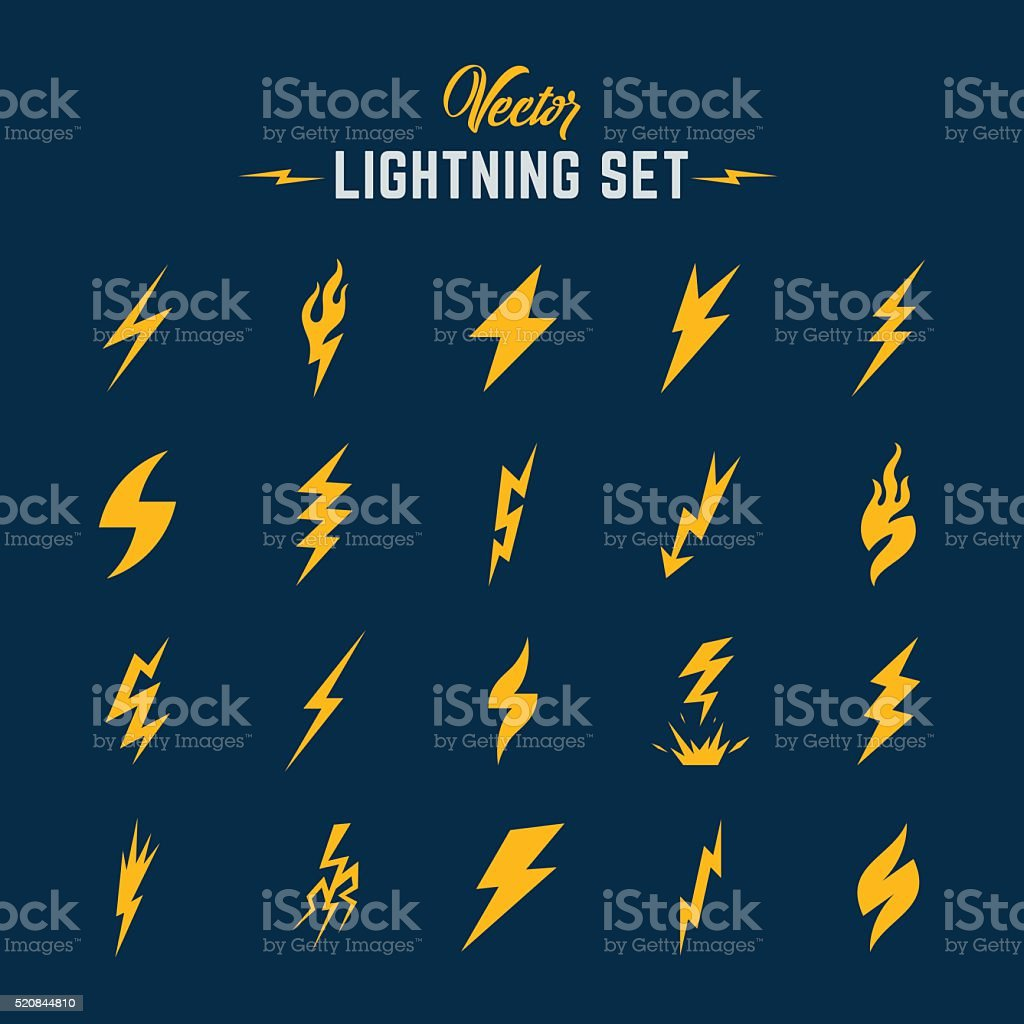 Unusual Abstract Vector Lightning or Blizzard Flat Style Icon Set vector art illustration