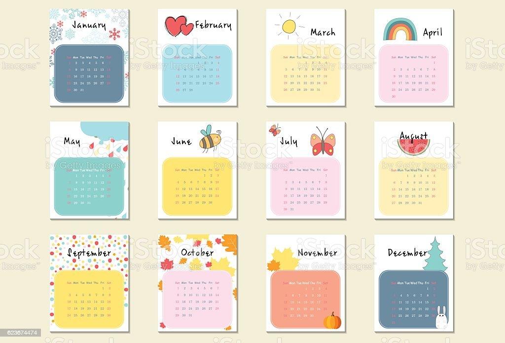 Unusual calendar 2017 in cartoon style vector art illustration