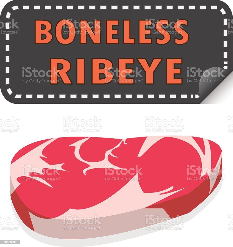 Unwrapped Fresh Boneless Ribeye steak with fat and sticker banne vector art illustration