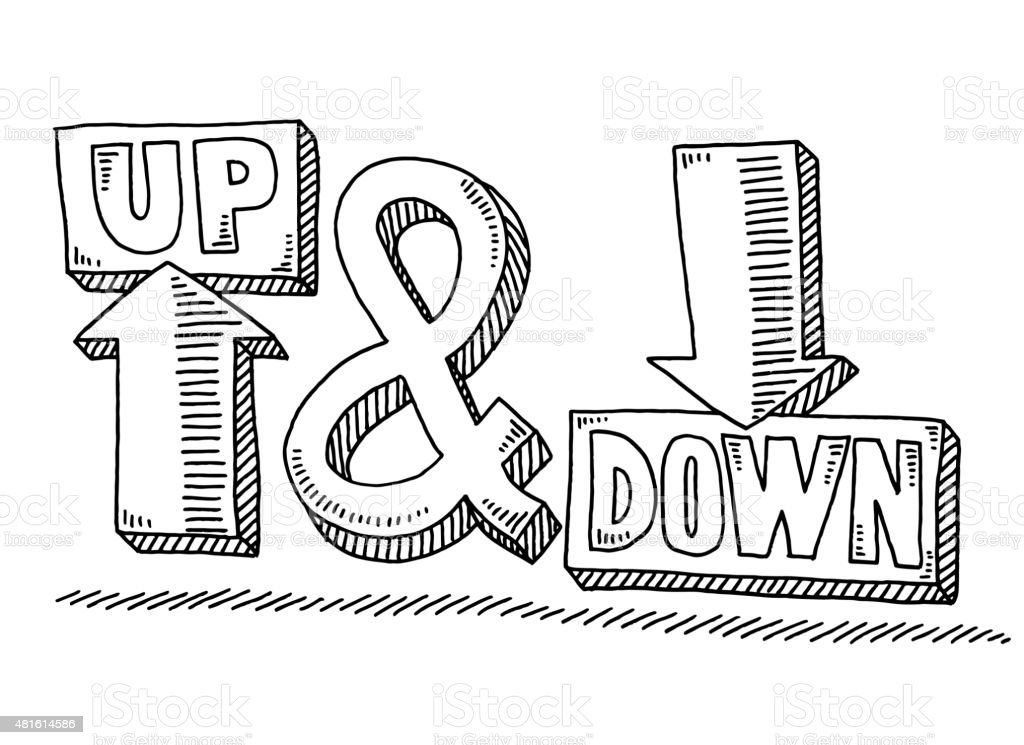 Up And Down Arrow Text Symbol Drawing vector art illustration