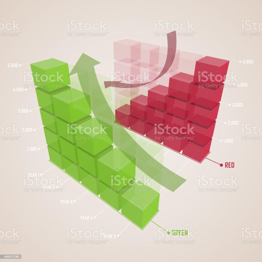 Up and down bar chart vector art illustration