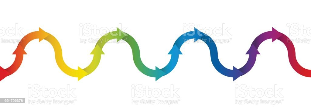 Up and down symbol for undulation and oscillation, depicted with a rainbow colored arrow wave - isolated vector illustration on white background, seamless extensible in both directions. vector art illustration