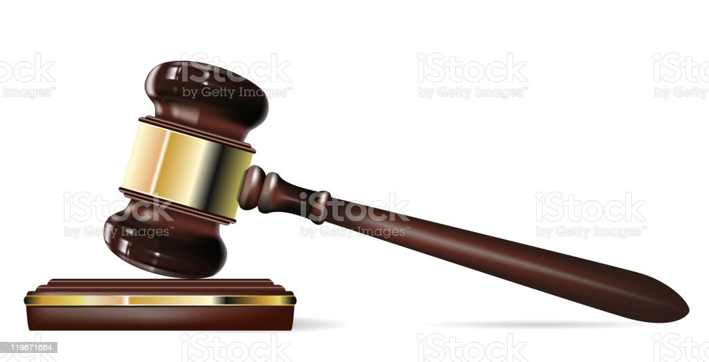 Up close photo of a judge's gavel on a white background vector art illustration