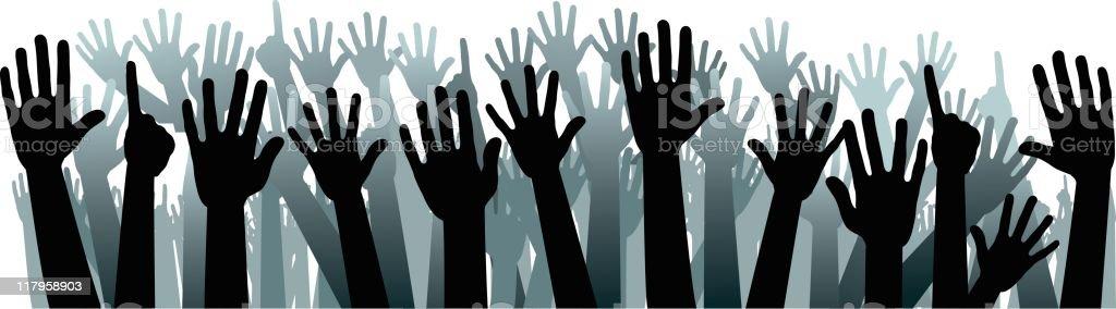 Up hands vector art illustration