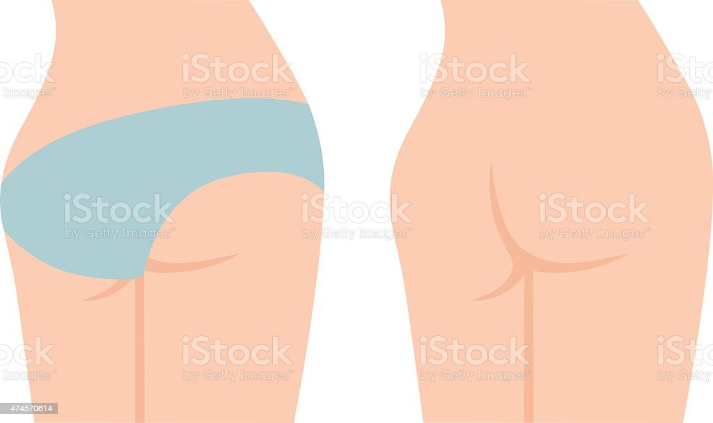 Up of buttocks vector art illustration