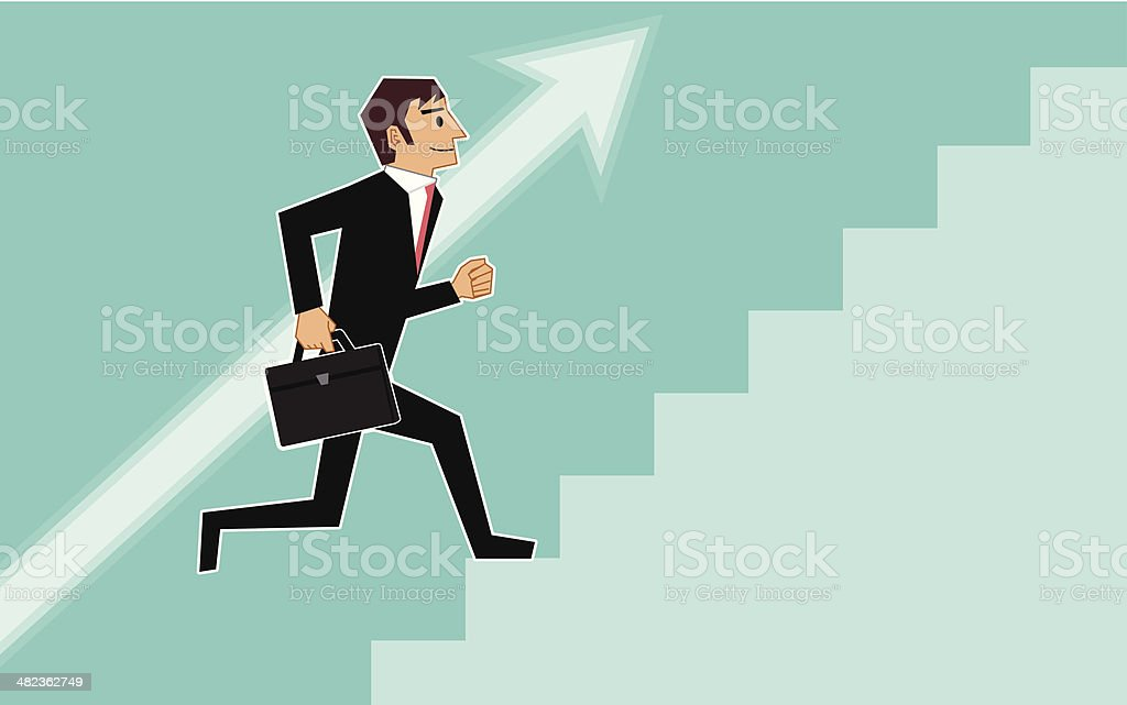Up the stairs vector art illustration