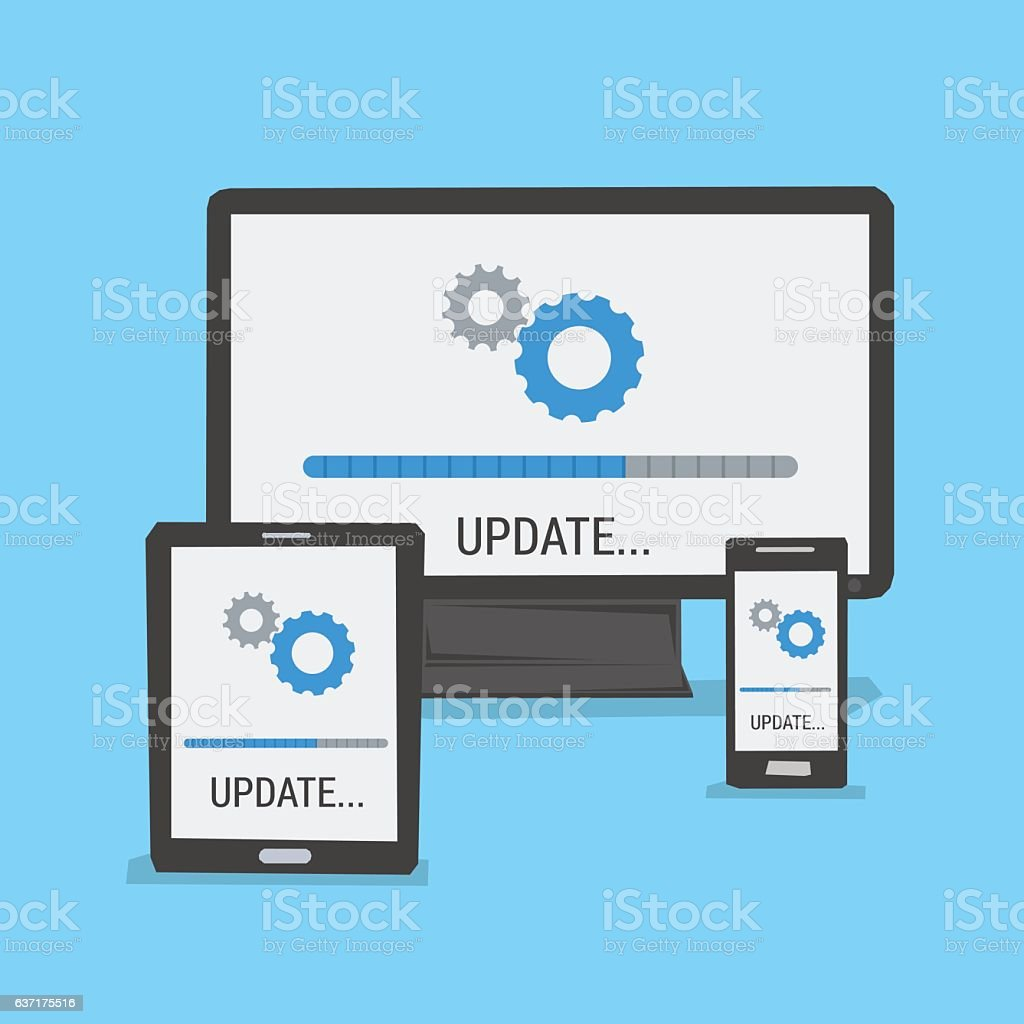 Update on different devices vector art illustration