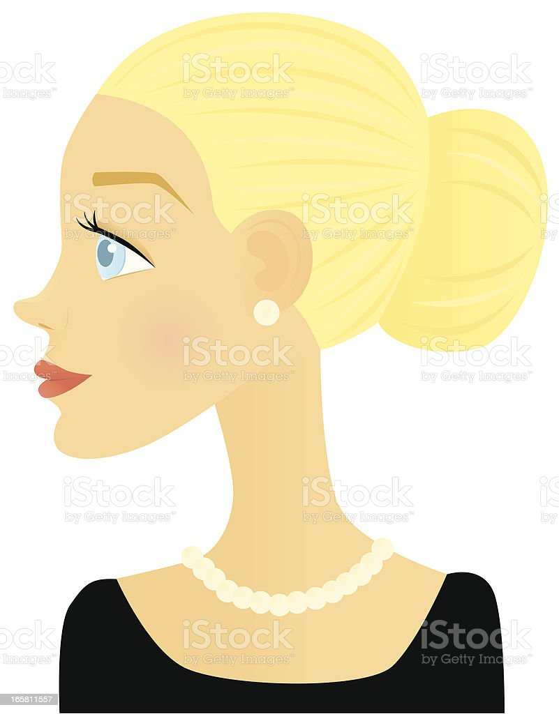 Updo and Pearls royalty-free stock vector art