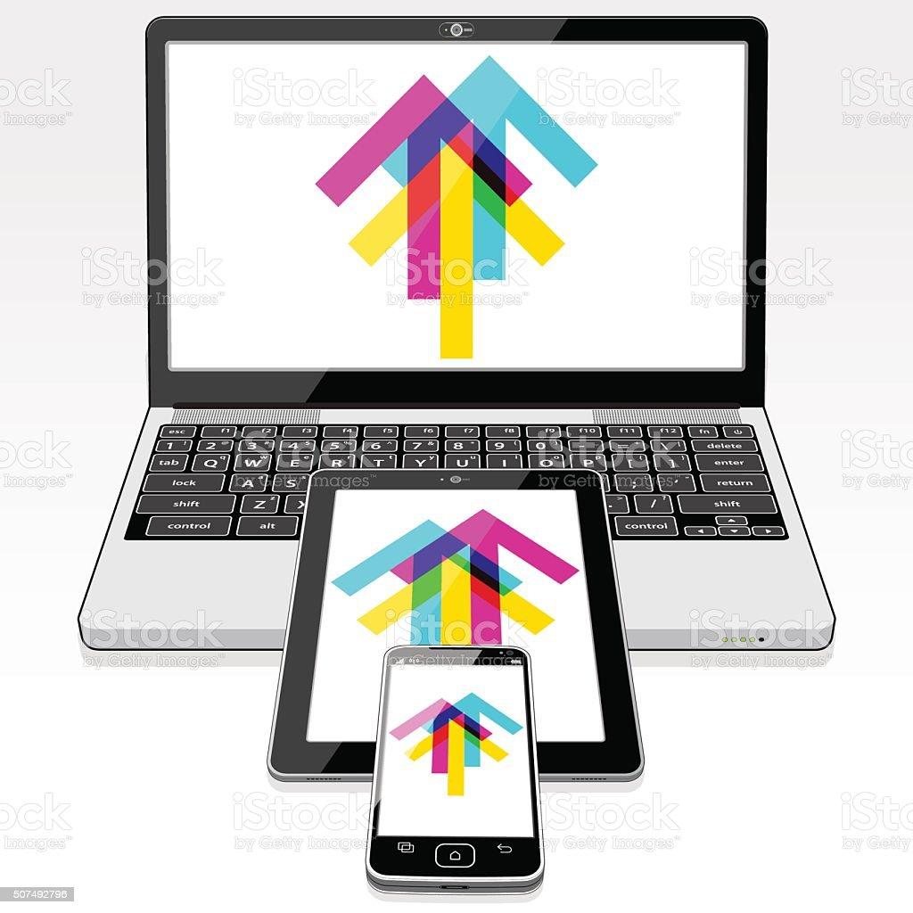 Upload Data - Digital Tablet, Laptop and SmartPhone vector art illustration