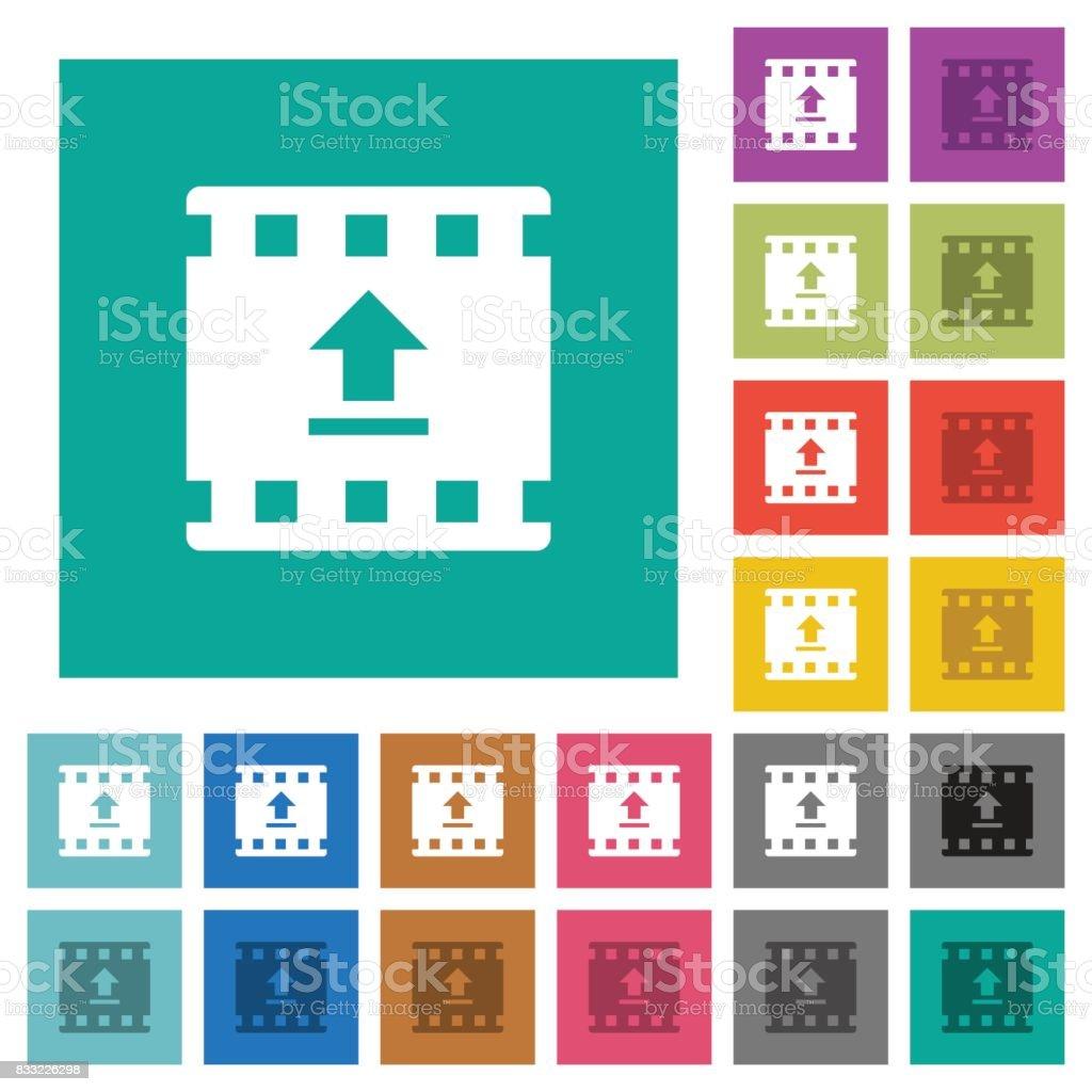 Upload movie square flat multi colored icons vector art illustration